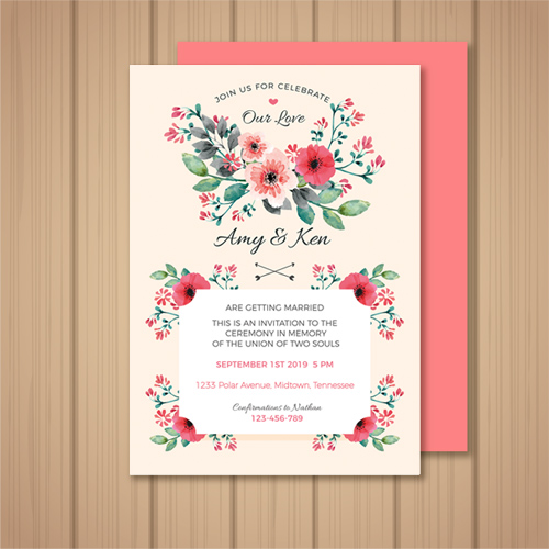 Coral Wedding Invitation and envelope