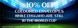 10% Off Coloured Envelopes This World Cup