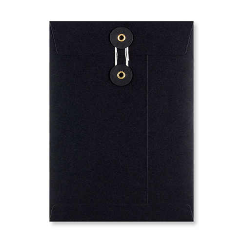 C6 BLACK POCKET 180GSM STRING & WASHER ENVELOPES