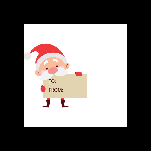 Santa Holding Sign Printed Envelopes