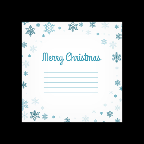 Merry Christmas Snowflakes Printed Square Envelopes