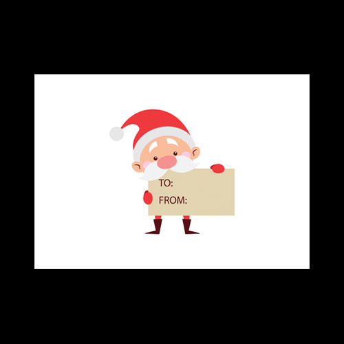 Xmas Santa Holding Sign Printed Envelopes