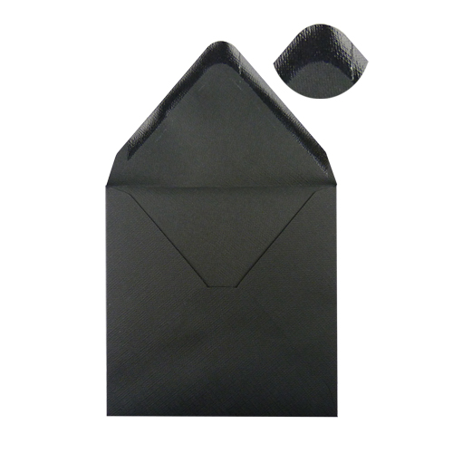 130mm Square Black Embossed Envelopes
