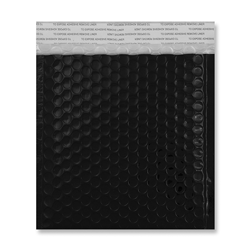 165mm square black metallic padded envelopes