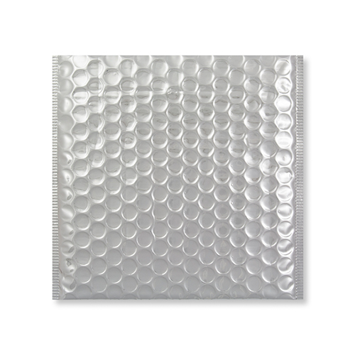 165MM SQUARE GLOSS METALLIC SILVER PADDED ENVELOPES
