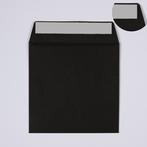 155mm Square Black Envelopes