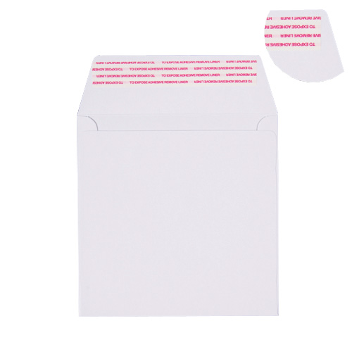 155MM SQUARE WHITE 180GSM PEEL AND SEAL ENVELOPES