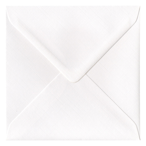 130mm SQUARE DIAMOND WHITE 135GSM FINE LINEN EFFECT ENVELOPES