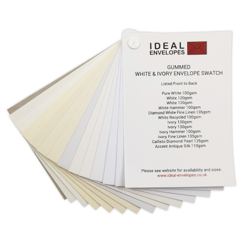 WHITE & IVORY GUMMED ENVELOPES SWATCH