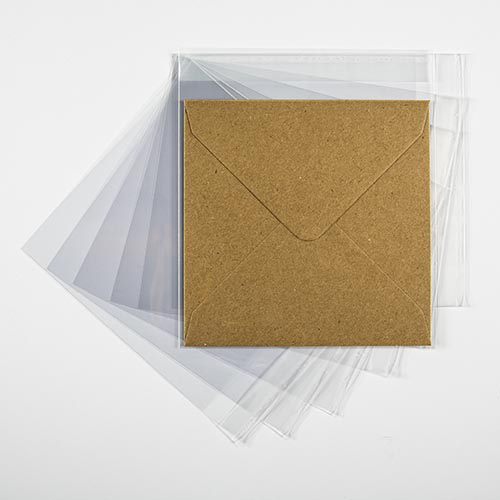 CLEAR CELLO BAGS to fit: 155 mm Square (SELF ADHESIVE)