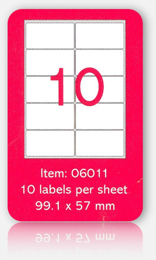 100 A4 SHEETS OF (99.1 x 57mm) SELF ADHESIVE LABELS