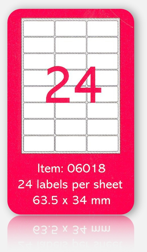 100 A4 SHEETS OF (64 x 34mm) SELF ADHESIVE LABELS