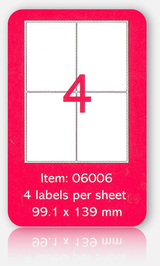 100 A4 SHEETS OF (105 x 148mm) SELF ADHESIVE LABELS