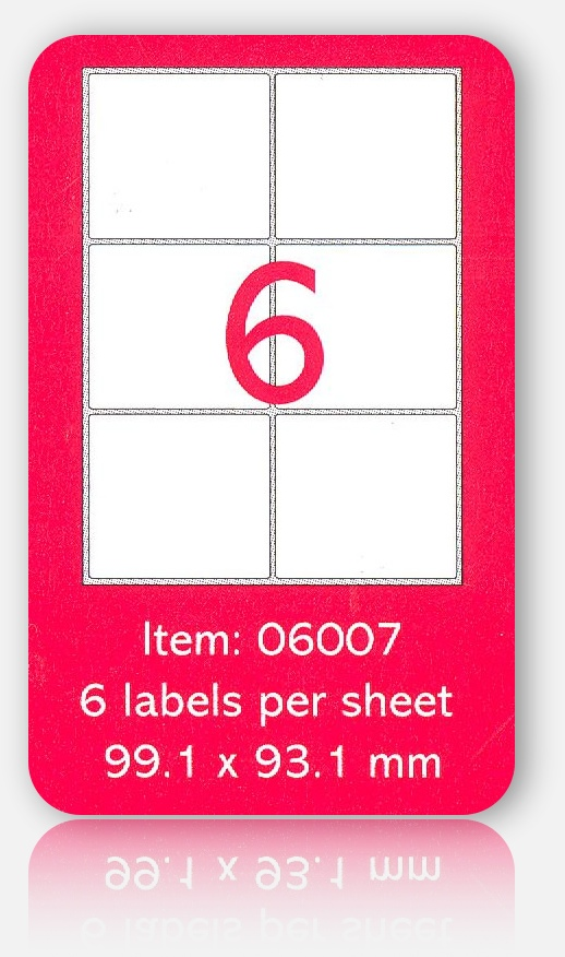 100 A4 SHEETS OF (99 x 93mm) SELF ADHESIVE LABELS