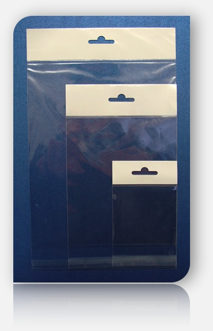 HEADED POLY SLEEVE BAGS size: 300mm SQUARE (SELF ADHESIVE)