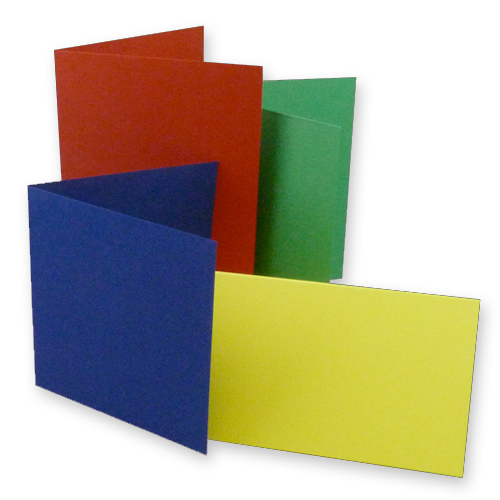 COLOUR SINGLE FOLD CARD BLANKS CREASED TO 210 X 210 MM