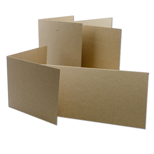 NATURAL KRAFT SINGLE FOLD CARD BLANKS - Creased to 105 x 148 mm (A6) (Landscape)